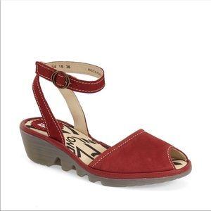 Fly London Popa Sandal Peep Toe Ankle Strap Red 41